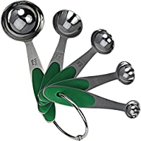 BrightSpring Measuring Spoons - Metal Set Shows Both Standard and Metric Measurements - FREE eBook - Engraved Measurement Will Not Rub Off - Soft, Easy Grip Handles for Added Comfort - Robust Stainless Steel - Hassle-free Money Back Guarantee for Complete Peace of Mind