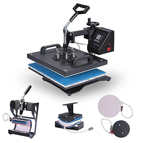 ZauberLu 6 IN 1 Multifunktions Hitzepresse Upgraded 38X30 CM Heißpresse mit Elektronische Zeitregelung und Temperaturüberwachung Automatisch Transferpresse Textilpresse für Platten Becher Schalen Hut T-Shirt (38X30 CM) (15 X15 Hitze-presse)