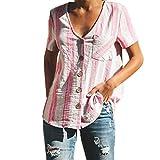 iYmitz Sommer Heißer Damen Hemd Kurzarm Streifen für Frauen Mode Drucken Bluse T-Shirt Tank Tops V-Ausschnitt Beiläufige Oberteil(Rosa,EU-40/CN-XL)