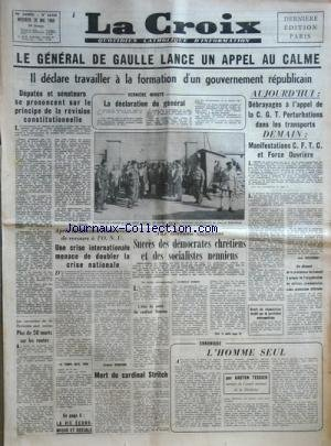 CROIX (LA) [No 22929] du 28/05/1958 - DE GAULLE LA...
