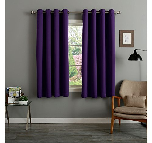 RAYYAN LINEN THERMAL WOVEN RING TOP EYELET BLACKOUT CURTAINS [AUBERGINE/PURPLE 66″ x 90″] READY MADE INCLUDING TIE BACKS