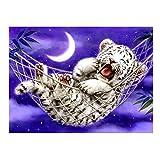 Eizur DIY Handmade Needlework Punto Croce Baby Tiger Design Ricamo Kit Precisa Stampato decorazione domestica Taglia 48*38cm