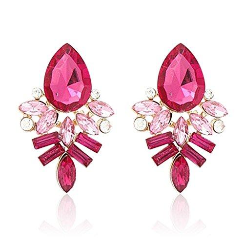 Hosaire 1 Paar Ohrringe Damen Mädchen Stein Ohrringe Fashion Süßes Kristall Diamant glitzernden Ohrstecker Geschenk,Rose