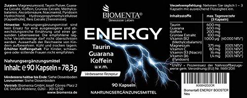 BIOMENTA ENERGY BOOSTER TABLETTEN VEGAN | mit TAURIN + GUARANA + KOFFEIN + GRÜNTEE + B-VITAMINEN + VITAMIN C + MAGNESIUM| PRE WORKOUT BOOSTER / TRAININGS BOOSTER | get more than Koffeintabletten | Für aktive Frauen &