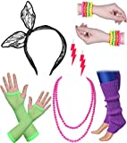 ArtiDeco Damen 80er Jahre Zubehör 1980s Disco Party Kostüm Outfit Zubehör Set Inklusive Stirnband Ohrringe Armbänder Beinlinge Fischnetz Handschuhe (Set-10)