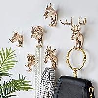 SHDKLANKLH Storage shelf Animal-shaped Hook Deer Rhinoceros Horse Giraffe Elephant Head Wall-mounted Coat Hat Hook Frame