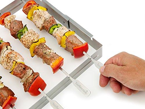 516sfix08ZL - Grillspießhalter für 5 Spiesse aus Edelstahl - Grill Zubehör  --> großes Sortiment an Grill Zangen Rost und Zubehör fürs Grillen