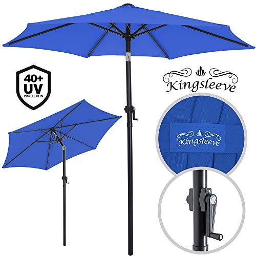 Deuba® Sonnenschirm Ø 200cm UV-Schutz 40+ mit Kurbel und Neigefunktion wasserabweisend Aluminium - Kurbelschirm Gartenschirm blau