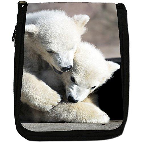 Polar Bears Media Nero Borsa In Tela, taglia M Two Little Polar Bear Cubs