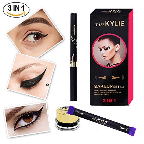 Turelifes Eyeliner Stamp Kit Facile à Maquillage Eye Wing Liners 3 en 1 Dessin Eyeliner Outil-Comprend Wing Stamp, Brosse Coudée & Encre Eyeliner (moyen)