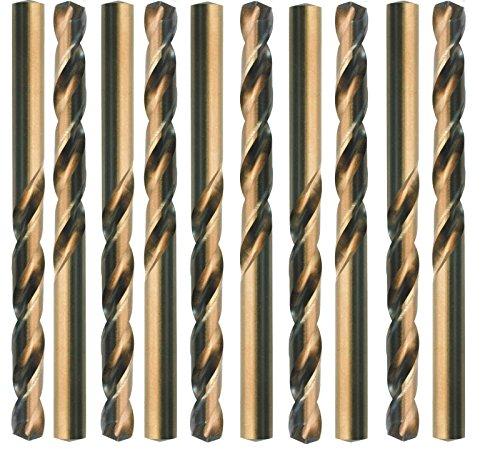 Preisvergleich Produktbild 10 HSS-Co Spiralbohrer,  DIN 338 Typ N,  rechts geschliffen,  -gold finish