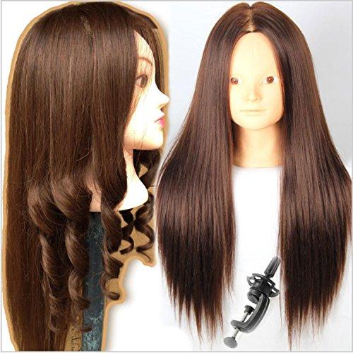 Royalvirgin Tête d'entraînement pour les coiffeurs Tête de mannequin avec cheveux Couleur Marron Cheveux Vitrine pour vente Tête de mannequin avec maquillage