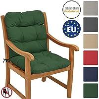 Beautissu Flair NL Cojín de asiento exterior con respaldo bajo 100x50x8 cm - Relleno de copos de gomaespuma - Verde oscuro