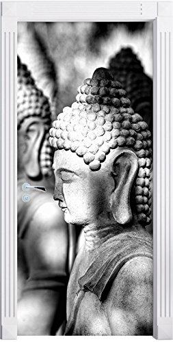 meditating-buddha-statues-in-a-row-art-b-w-as-mural-format-200x90cm-door-frame-door-stickers-door-de