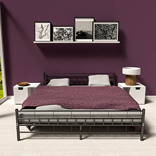TecTake Double metal bed frame king size modern bedroom + slatted frame - different models - (180x200cm, Black)