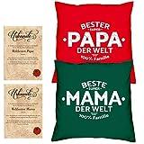 Soreso Design Hochzeitstag Geschenk für Mama und Papa -:- 2 Kissen mit Füllung plus 2 Urkunden im Set -:- Beste Mama der Welt in dunkelgrün - Bester Papa der Welt in rot