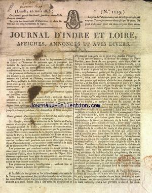 JOURNAL D'INDRE ET LOIRE [No 1119] du 10/03/1823