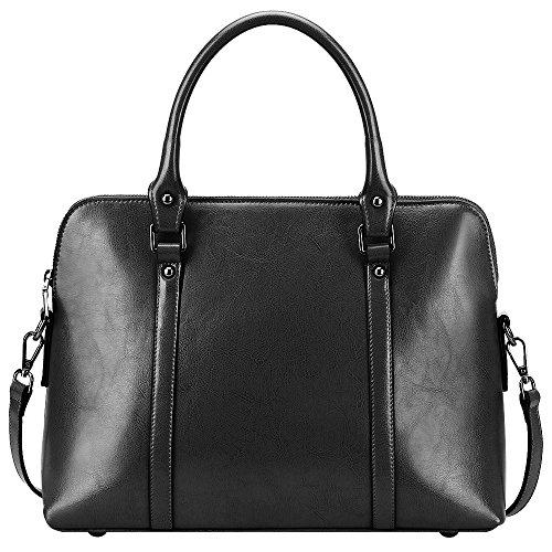 S-ZONE Frauen Echtes Leder Handtaschen Aktenkoffer Geldbörse Schultertaschen Taschenbeutel - Schwarz Poliert Leder Handtasche