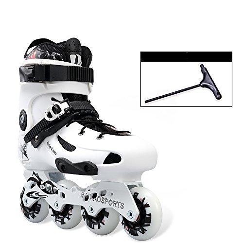 MLSS LI Adult Skates Inline Skates Einreihige Licht Skates Männer und Frauen Skating Schuhe Muster Rollschuh,White-39