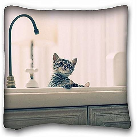 Decorativo Quadrato Throw Pillow Case animali Gattini lavello S gioco gatti 18x 18in due lati