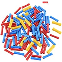 Sanzhileg 100 pcs. Terminales termorretráctiles Mixtos. Tubo de Manga de Soldadura a Prueba de Agua. Kit de Conectores aislados a Tope eléctricos - Rojo + Azul + Amarillo