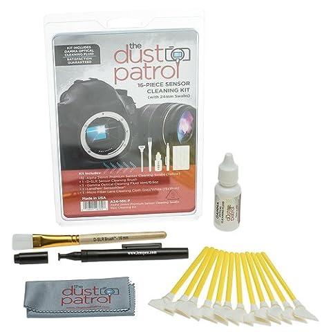 The Dust Patrol Alpha 24mm Premium Sensor Swab Écouvillons pour nettoyage du capteur - kit de 16 pièces (Jaune) avec The Dust Patrol Gamma bouteille de fluide de nettoyage (14ml./0.5oz)
