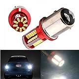 FEZZ 2PCS Ampoules LED 1156 BA15S 3014 57SMD Clignotant Feux Arrière Recul Auto Voiture Blanc