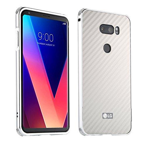 LG V30 Hülle,LG V30 Metall Cover,WIWJ Handyhülle Metall Case Cover 2 in 1 Aluminium Bumper Case Kohlefaser mit Anti-Kollision Kunststoff Schutzhülle für LG V30/LG V30 Plus/LG V30S-Silber
