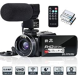 Caméra Vidéo Caméscope WiFi FHD 1080P 30FPS Vision Nocturne IR Caméra Enregistreur Vlogging 26MP Caméscope Zoom Numérique Écran 3 Pouces 16X avec Télécommande, Microphone et 2 Piles