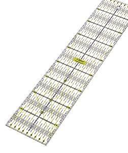 Lialina® Transparentes Universal Patchwork-Lineal 10 x 45 cm / 2farbiger Druck cm Linien Raster 30/45/60 Grad Winkel-Maße / Papier + Stoff exakt mit Rollschneider zuschneiden