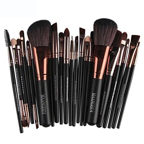 Internet 22 Pièces Outils Laine Maquillage Ensemble de Brosses Trousse de Pinceaux Maquillage (Noir)