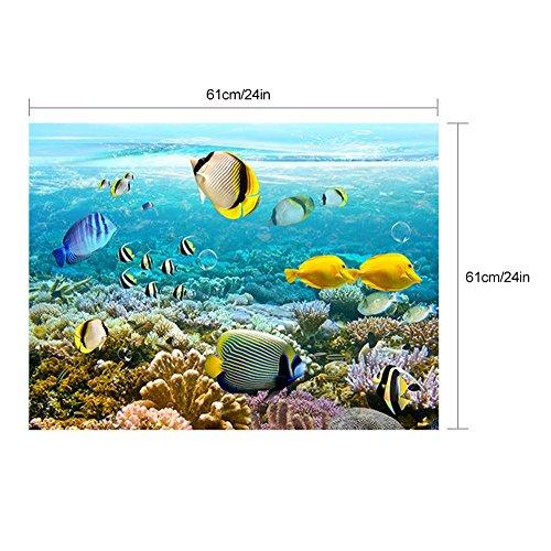 61 * 61 cm 152 * 61 cm Wand Aufkleber Ozean Unterwasserwelt Wandsticker Set Aquarium Hintergrund Ozean Landschaft als Fisch Tank Hintergrund Dekor PVC Coral Sea Vivid Szene (Wandtattoos Ozean-szenen)