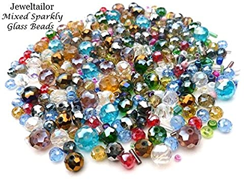Jeweltailor 100+ Hand Mixed Sparkly Rainbow Glass Beads ~ Ideal For Creative Jewellery Making