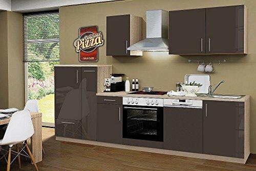 idealShopping Küchenblock mit Geschirrspüler und Ceranfeld Premium 300 cm in lava glänzend