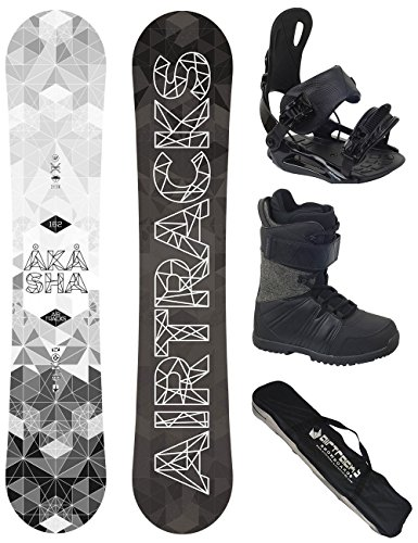 AIRTRACKS SNOWBOARD KOMPLETT SET / AKASHA SNOWBOARD WIDE ROCKER + BINDUNG SAVAGE + BOOTS + SB BAG / 152 157 159 162 / cm