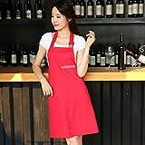Wddwarmhome Koreanische Art-Art und Weise Schürze Küche-wasserdichte Baumwollkaffee-Geschäft-Arbeitskleidung erwachsene Sleeveless Schürze ( Farbe : Rot )