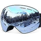 Gafas de esquí YAKAON Y1 para hombres y mujeres, lente polarizada REVO, corre antideslizante, protección contra rayos ultravioleta, lente y correa desmontables , hombre, Y1 Grey Frame Silver Lens VLT 7.3%