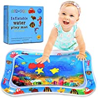 Urmelody Inflatable Water Mat for Baby Kids Play Patted Pad Infants & Toddlers Fun Tummy Time Play Activity Center Toy for Baby's Stimulation Growth (Blue)