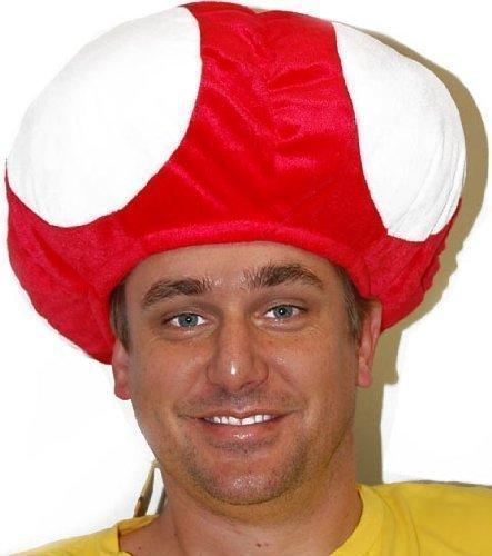 Super Mario PILZ TOAD MUSHROOM Mütze (Rote Pilzmütze) Karneval Kostüm Fasching (Pilz Super Kostüm Mario)
