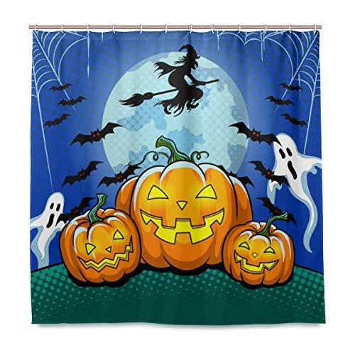 (Wamika Badezimmer Dusche Vorhang Halloween Kürbis Design Haltbarer Stoff Bad Vorhänge Schimmelresistent Wasserdicht Badezimmer 12Haken 183,0cm x183,0cm)