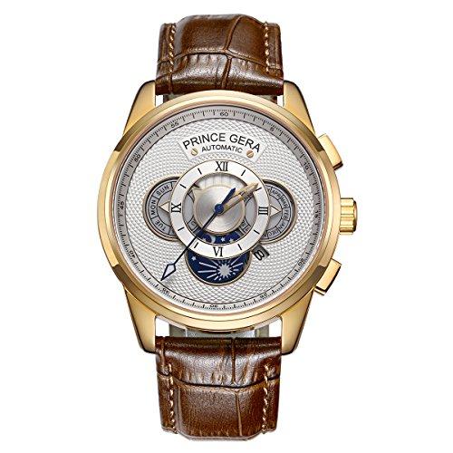 Prince Gear Einzigartige Gold Herren Automatik Uhren Wasserdicht Braun Leder Mechanische Uhr Mit Tag Datum Monat Sonne und Mond Anzeige