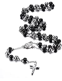 Vnox Collares de Rosario de Acero Inoxidable Crucifijo Católico Cruz de Cadena Larga Collar,Negro y Plata