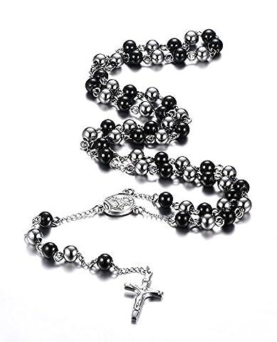 Vnox Chapelet en acier inoxydable Crucifix catholique Collier croix à chaîne longue,noir et