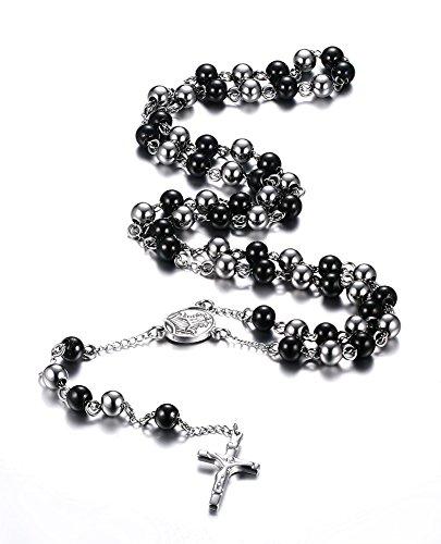 Vnox Chapelet en acier inoxydable Crucifix catholique Collier croix à chaîne longue,noir et argent