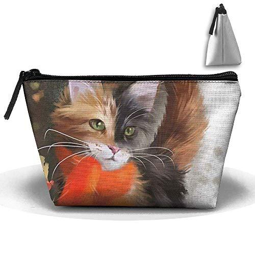 Trapezoide Kosmetiktaschen Bürstenbeutel Halloween Katze Make-up Tasche Reißverschluss Geldbörse Hangbag (Eine Halloween-make-up Für Katze)