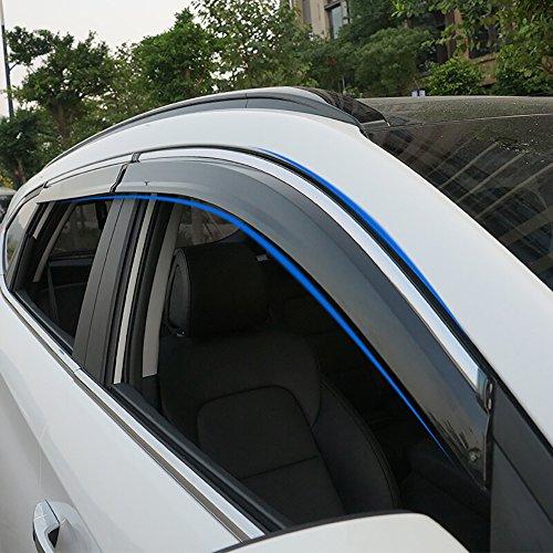 Deflectores de viento BeHave para ventanas de coche, protectores de lluvia; paquete de 4 piezas cromadas (yd314w)