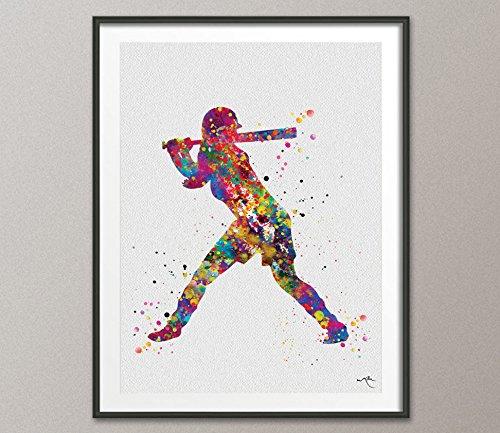 COCOMILLA Baseball Player Watercolor Print Softball Girl Player Druck Baseball Kunst Wand Baseball Poster Softball Geschenk Sport Decor Sport Wand art-1049 5.83 x 8.27 (Baseball-kunst-drucke)