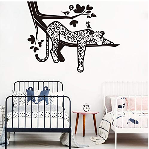 Wandaufkleber PVC DIY 3D Leopard Gepard Cartoon Leopard Safari Baum Wandtattoo Baby Kindergarten Wald Dschungel Leopard Tier Zweig Vogel Wandaufkleber Schlafzimmer Spielzimmer Vinyl 73 * 56 cm -