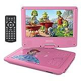 """9.5"""" Tragbarer DVD-Player, schwenkbaren Bildschirm, 3 Stunden Akku, unterstützt SD-Karte und USB (Rosa)"""