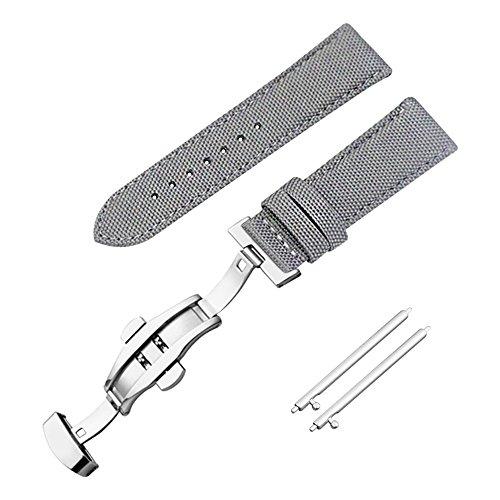 Band Nylon Leinwand Kalbsleder Ersatz Uhrenarmband grau 18mm Uhr Armband Leder Uhr